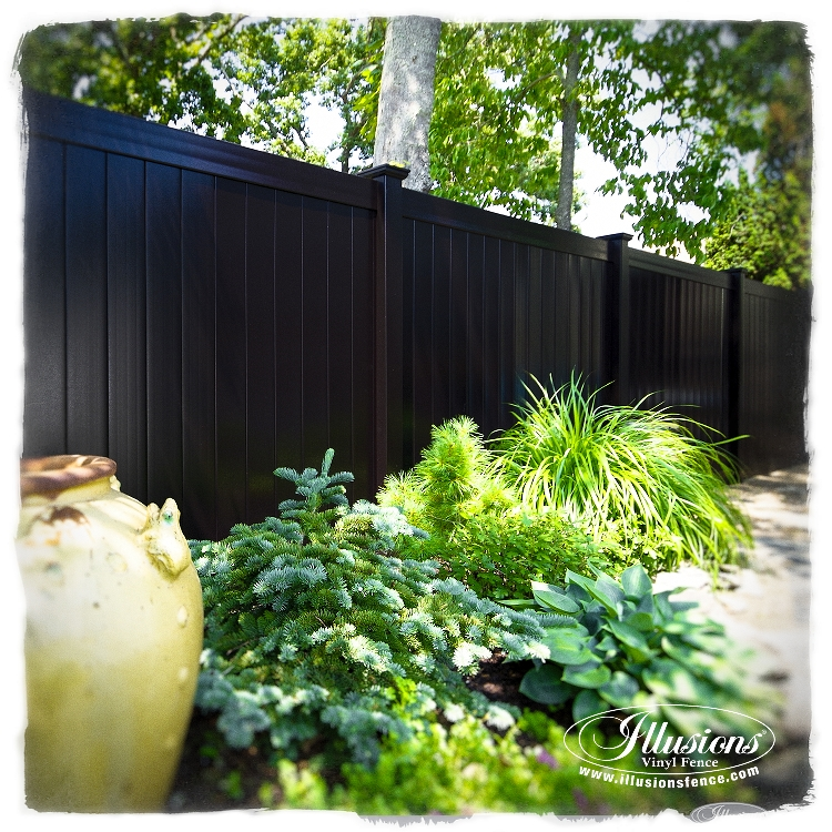 black pvc vinyl privacy fence by illusions fence Wolcott CT